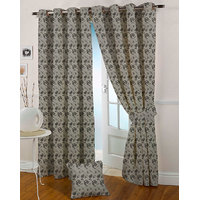 Presto Black Grey Colour Jacquard Eyelet Long Door Curtains(9Ft)-ICSA15F9