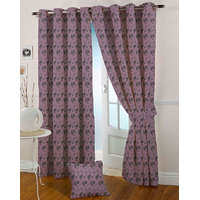 Presto Purple Colour Jacquard Eyelet Long Door Curtains(9Ft)-ICSA16F9