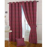 Presto Dark Pink Colour Jacquard Eyelet Window Curtains(5Ft)-ICSA17F5