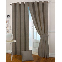 Presto Coffee Colour Jacquard Eyelet Door Curtains(7Ft)-ICSA52F7