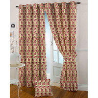 Presto Pink Colour Jacquard Eyelet Door Curtains(7Ft)-ICVR64F7
