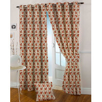Presto Rust Colour Jacquard Eyelet Long Door Curtains(9Ft)-ICVR66F9