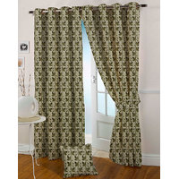 Presto Green Colour Jacquard Eyelet Long Door Curtains(9Ft)-ICVR68F9