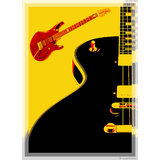 Art Printed Posters - Digital Art Of Guitar
