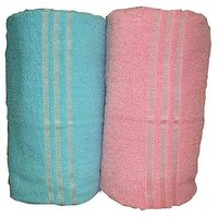 Bp Combo Of 2pc LUXURY BATH TOWEL - BLUE&PINK