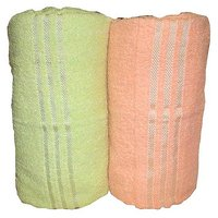 Bp Combo Of 2pc LUXURY BATH TOWEL - GREEN&ORANGE
