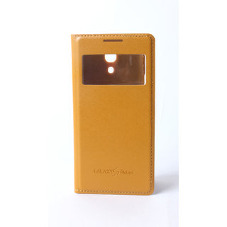 Callmate Window Luxary Flip Cover forSamsung Galaxy S4 i9500 with Free SG Yellow