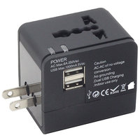 Callmate Universal World Travel Adapter With Dual USB Charger - Black