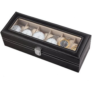 High Quality 6 Slots Wrist Watch Storage Box Display Case Organizer with Faux Leather Finish and Glass Window