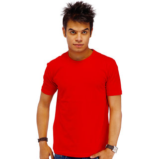 Lanosuc Mens Round Neck Red Tees
