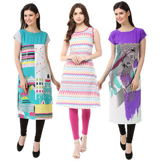 1 Stop Fashion Multi Color Crepe Party Wear Digital Printed combo Kurtis 50319304314