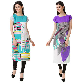 1 Stop Fashion Multi Color Crepe Party Wear Digital Printed combo Kurtis 5031950314