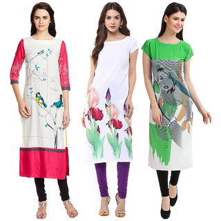 1 Stop Fashion Multi Color Crepe Party Wear Digital Printed combo Kurtis 50320303315