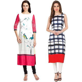 1 Stop Fashion Multi Color Crepe Party Wear Digital Printed combo Kurtis 5032050310