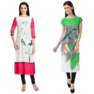 1 Stop Fashion Multi Color Crepe Party Wear Digital Printed combo Kurtis 5032050315