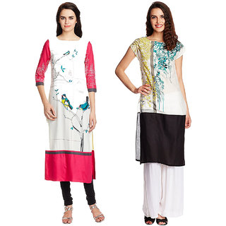 1 Stop Fashion Multi Color Crepe Party Wear Digital Printed combo Kurtis 5032050318