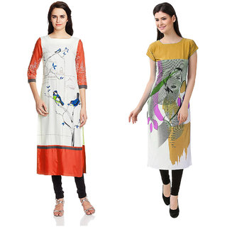 1 Stop Fashion Multi Color Crepe Party Wear Digital Printed combo Kurtis 5032150316