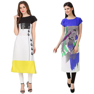 1 Stop Fashion Multi Color Crepe Party Wear Digital Printed combo Kurtis 5032250317