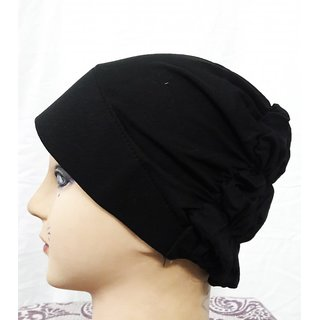 Hijab TURBAN CANVAS HOSIERY BLACK Under Scarf Stole Muslim Inner Abaya Head Cover Islamic Cap Women Chemo Hair Hat