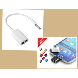 COMBO MINI OTG Cable With Headphone Earphone 3.5mm AUDIO Stereo Y Splitter Cable