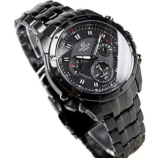 CASIO EDIFICE EF 535BK 1AVD FULL BLACK CHRONOGRAPH STYLISH MENS WRIST WATCH GIFT