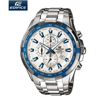 CASIO EDIFICE EF 539D 7A2V WHITE BLUE CHRONOGRAPH SMART MENS WRIST WATCH GIFT