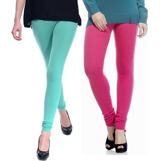 Pack of 2 Aqua Green & Pink Cotton Stretch Leggings