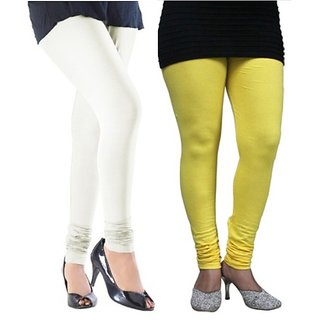 Pack of 2 Yellow & Cream Cotton Stretch Leggings