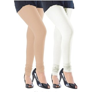 Pack of 2 Cream & beige Cotton Stretch Leggings