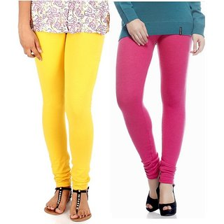 Pack of 2 Yellow & Pink Cotton Stretch Leggings