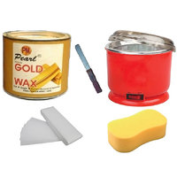 DDH Gold Wax + 90 Wax Strips Pack + Wax Auto Cut Heater + Sponge and Free Knife