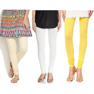 Pack Of 3 Beige, Yellow & Off-White Cotton Stretch Leggings