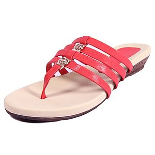 Foot Step Chic Red Women's Slippers