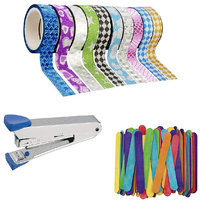 Colourful Adhesive Tapes(10 Rolls) with 100 Craft Sticks  Kangroo Stapler