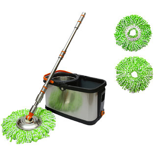 Wonder Spin Mop exclusive in Stainless steel bucket