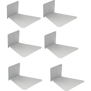 IBS Set of 6 Invisible Bookshelf Floating Design Home Decor Office Wall Mount Bookcase Open Mettal Open Book Shelf