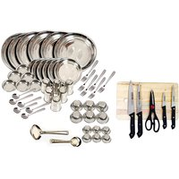 Kpro 50 Pcs Stainless Steel Dinner Set With Chopping Board And Knife Set
