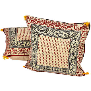 Hand Block Printed Cotton Cushion Cover Pair 843 CUS843