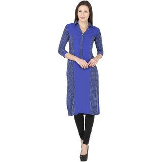 e0287d3161d6 Naisha Blue and Black Printed Crepe Straight Kurta for Women available at  ShopClues for Rs.