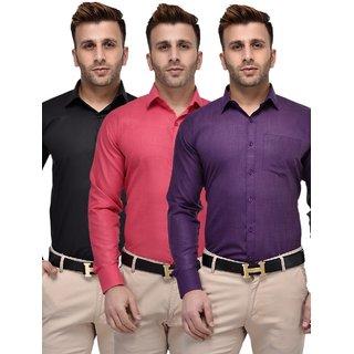 Lee Marc Plain Cotton Shirts for Men (Combo of 3)
