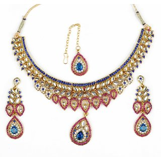 Amarsonns Jewels Blue And Pink Necklace Set