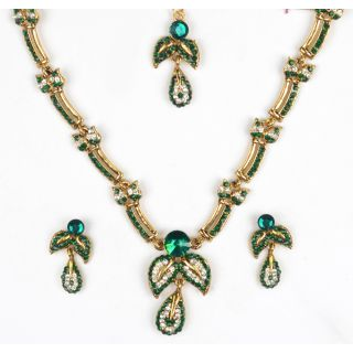 Amarsonns Jewels Green And White Necklace Set