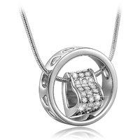 Om Jewells Silver Rhinestone Heart In Love Ring Pendant For Women - Pd1000809D