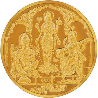 RSBL BIS Hallmarked 5 grams 24k (995) Yellow Laxmi  Ganesha Saraswati Precious Coin