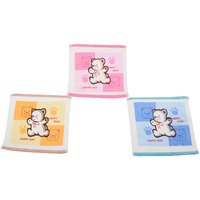 Happy Bear Cotton Baby Or Kids Imported Face Napkins - 3 Colours - Set Of 12