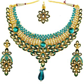 Amarsonns Jewels Blue And Golden Necklace Set - 4718994