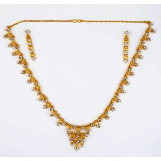Amarsonns Jewels Austrian Diamond And Golden Necklace Set