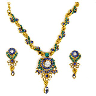 Amarsonns Jewels Blue And Golden Necklace Set