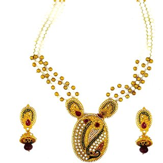 Amarsonns Jewels White Jewels And Golden Necklace Set
