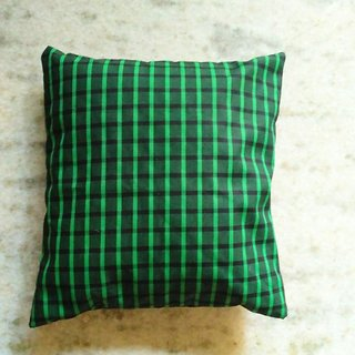Checked 12 inch cushion cover set of 2 (green)